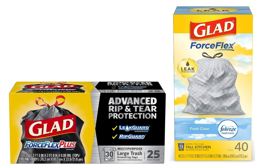 Glad Forceflex 40 Count 13-Gallon Tall Kitchen OR 25 Count Large Drawstring Trash Bags Only 2/$9.76 + Free Shipping!