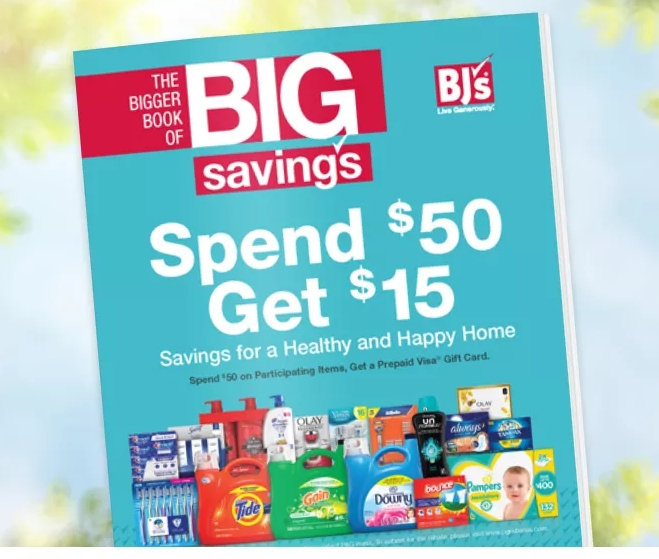 BJ's Wholesale Club – $15 Prepaid Card with Purchase of $50+ in Select P&G Products! Tide, Gillette, Pampers and More!