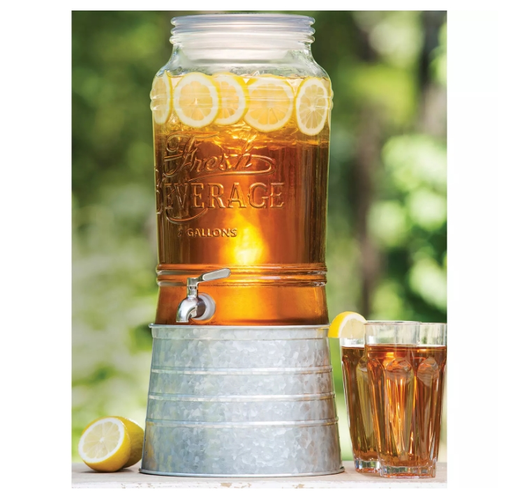 Member's Mark 2 Gallon Glass Beverage Dispenser with Galvanized Steel Base Only $9.98, Reg $14.98 + Free Store Pickup at Sam's Club!
