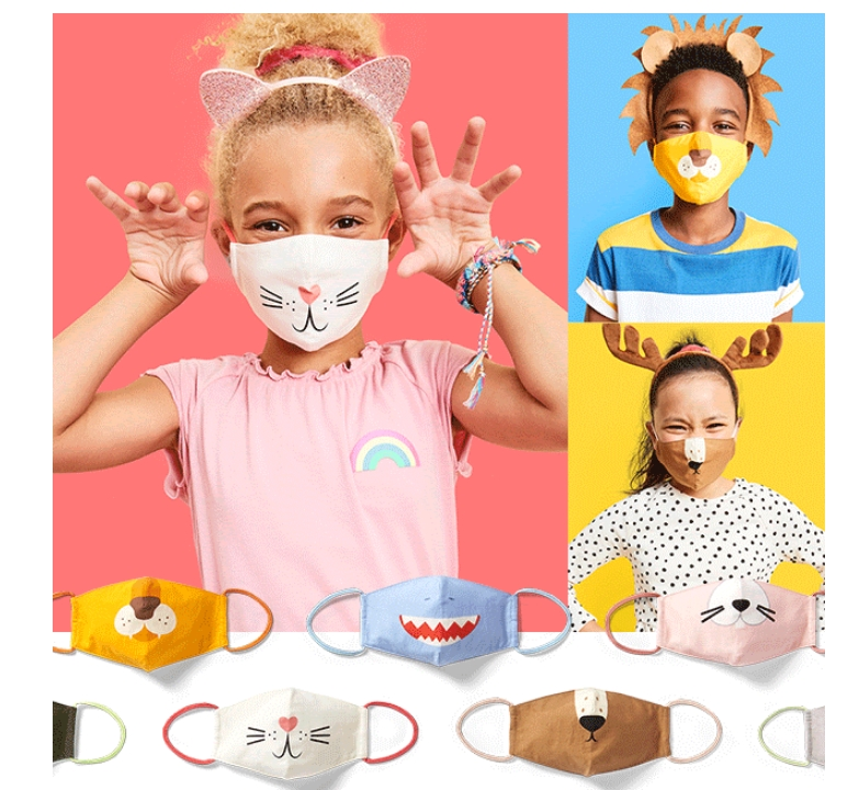 Old Navy – Variety 3 Pack of Triple-Layer Cloth Critter Face Masks (with Laundry Bag) for Kids Only $9.50 ($3.17 a Mask)