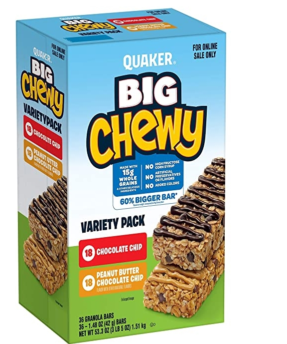 Quaker Big Chewy Granola Bars, 60% Larger, 2 Flavor Variety Pack, (36 Pack) Only $7.70, Reg $10.25 + Free Shipping!
