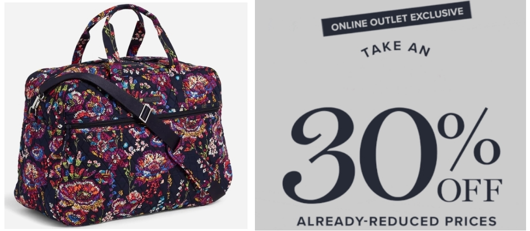 Vera Bradley Outlet – Take an Additional 30% Off Your Purchase (Even Clearance)! Grand Traveler Bag $42.00, Reg $149.00!