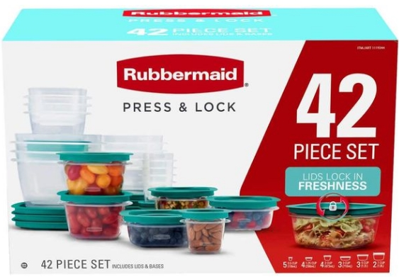 Rubbermaid Press & Lock Easy Find Lids, Food Storage Containers (Teal) 42-Piece Set Only $18.99, Reg $39.99 !