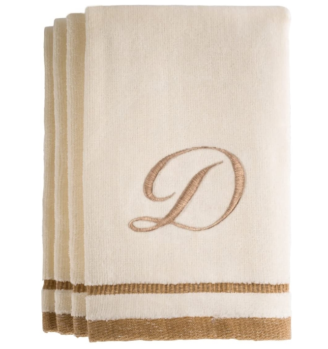 Set of 4- Monogrammed 100% Cotton Towels 11×18 For Only $28.99, Reg $36.99 + Free Shipping!