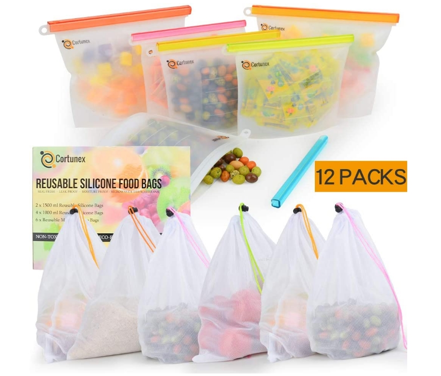 Reusable Silicone Food Storage Bags Set Of 12 Only $15.99, Reg $24.99 at Amazon!