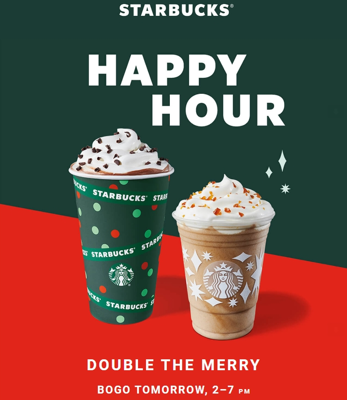 Happy Hour at Starbucks, BOGO FREE Handcrafted Drinks 2-7 PM!