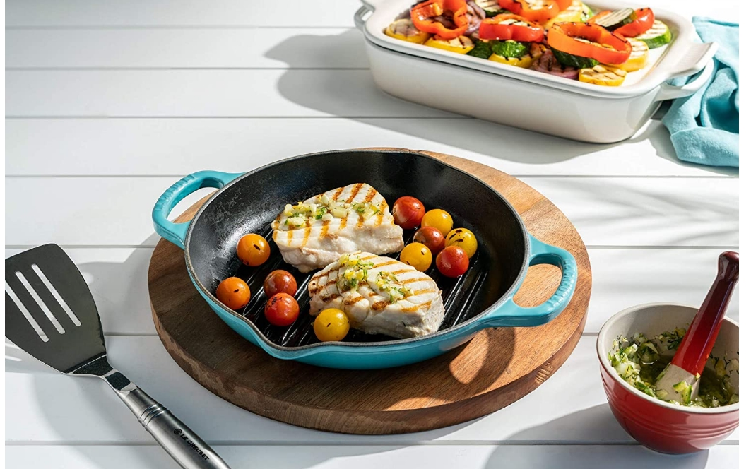 Le Creuset Enameled Cast Iron Signature Deep Round Grill, 9.75″ Only $99.95, Reg $169.95 + Free Shipping!