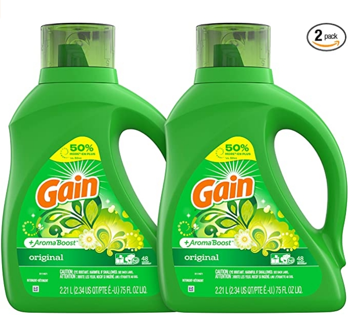 Gain Laundry Detergent (2 Pack) Liquid Plus Aroma Boost (Original Scent) 96 Loads, 150 Fl Oz Only $12.10 (Reg $18.99) + Free Shipping!