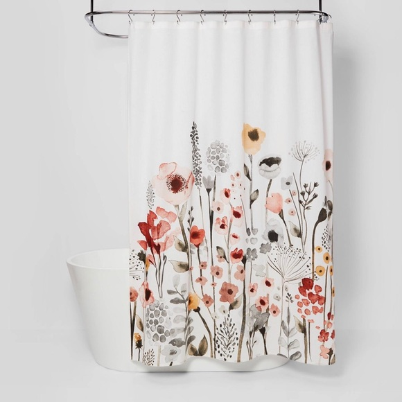 Threshold Floral Wave Shower Curtain White Only $18.00 (Reg $20.00) + Free Store Pickup at Target.com!